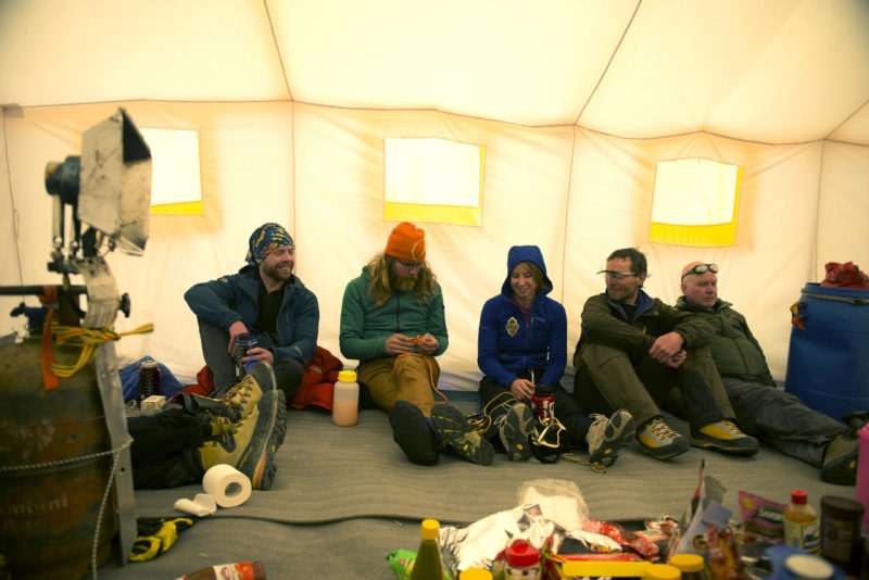 DSC_5722_Climbers relax in a tent at advanced basecamp (6400 m). Copyright Dave Ohlson_50percent