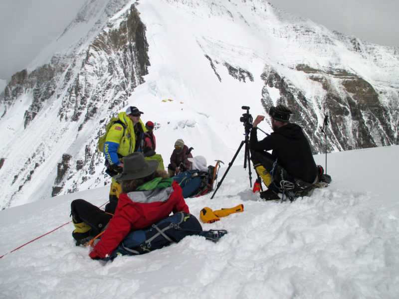 IMG_0107_Filmmaker Dave Ohlson interviewing Captain Elyse Ping Medigy above Camp1  on the North Col of Everest. Copyright Elyse Ping Medvigy
