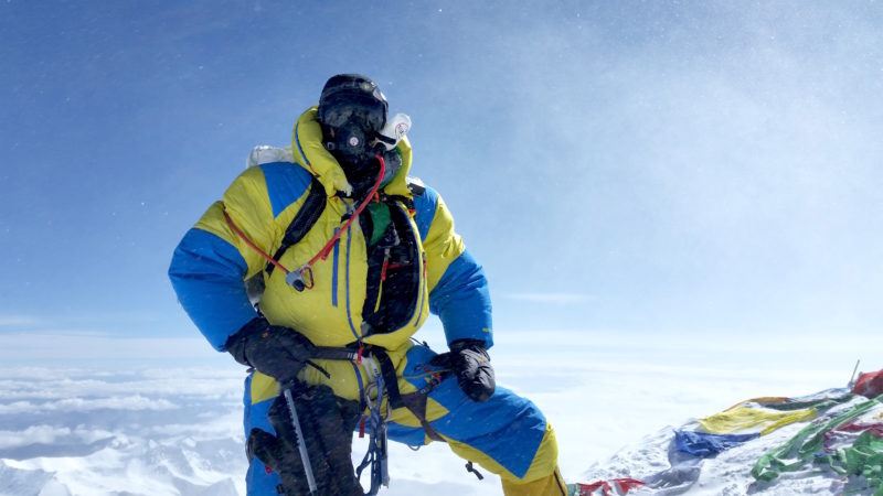 USX climber Dr. Dave Ohlson on the summit of Mt. Everest May 24 2016